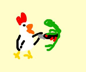 chicken stabbing man