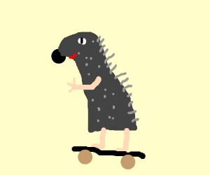skateboarding hedgehog