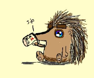 Cute Baby Hedgehog Drinks Coffee Drawing By Ned Innis Drawception