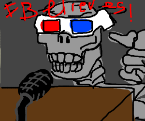 Old Skelton with 3D glasses believes