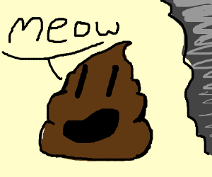 poop in water says meow with a tornado