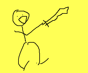 Man happy about his sword