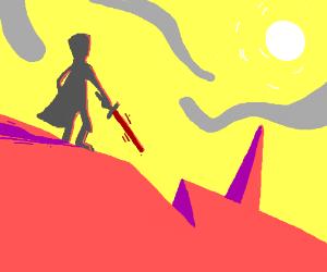 Dystopian. Man holding scifi sword in desert