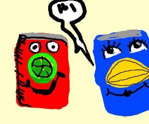 "Happy lime and lemon soda saying ""hi!"""