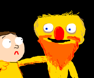Yellmo with orange beard and Morty