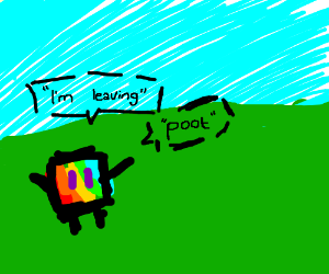 """rainbow squares say """"i'm leaving"""" and """"poot"""""""