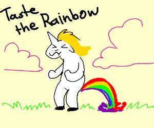 a unicorn pooping rainbows drawception
