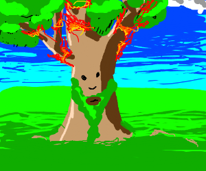 Tree with green beard in flames