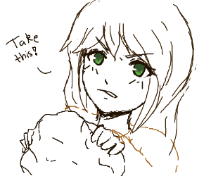 Manga girl with green eyes giving you a lump