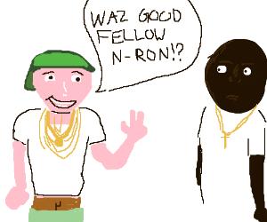 a white guy pertending to be black