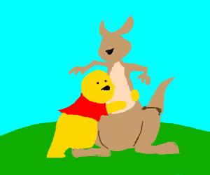 "Winnie the Pooh hugs Kanga. ""Hay gurl..."""