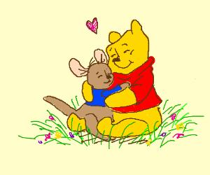 Winnie the Pooh hugs kangaroo