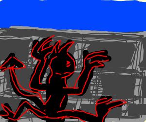 Demon crawling up brick wall