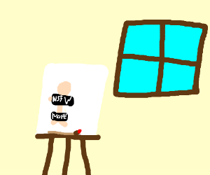 Painting of a nude woman. And a window