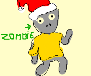 gray zombie in gold shirt with santa hat