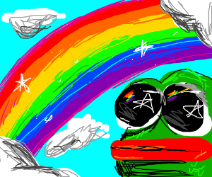 Pepe and a beautiful rainbow