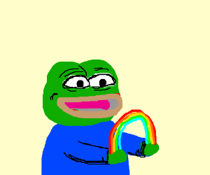 pepe sees a rainbow