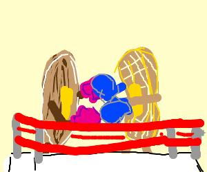 Pancake vs waffle fistfight