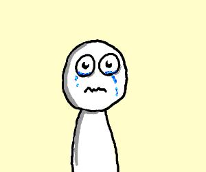 Sad white guy is crying