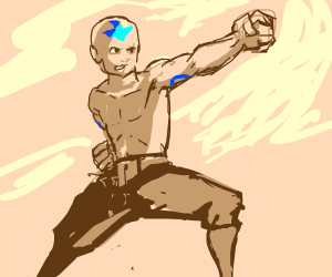 aang the avatar doing some training