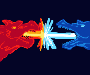 Ice Dragon vs Fire Dragon - Drawception