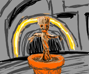 Baby Groot Still In The Pot Drawing By Cesium55 Drawception