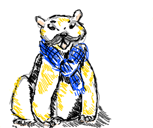 polarbear with mustach and blue grannyscarf