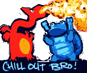 wartortle and charizard argue