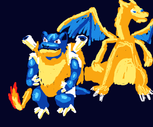 Blastoise pokemon & a dragon