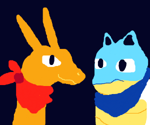 Blastoise and Charizard