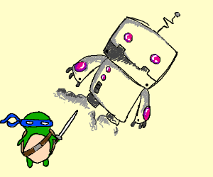 Robot flying away from a teenage mutant ninja turtle