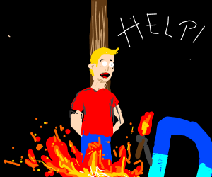 Drawception D burns blond person at the stake.