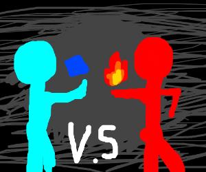 ice vs fire stick figure fight