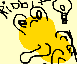 A yellow frog has an idea