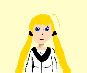 anime girl w/ blond hair, red eyes,b/w clothes