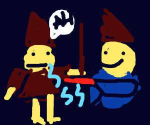 Two wizards fighting