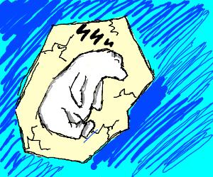 tired polar bear