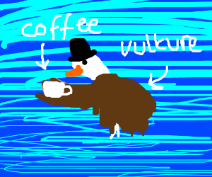 Vulture drinking a cup of coffe with hat
