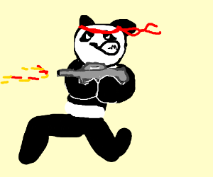 Rambo Badass Panda Drawing By Mereng