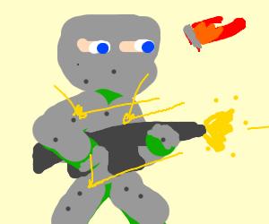 Guy in armor reflecting bullets