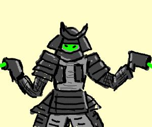 A grey ninja/knight/soldier is shooting.
