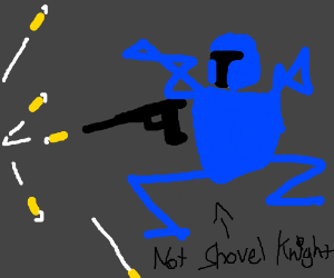 Blue armoured man shoots ricocheting bullets