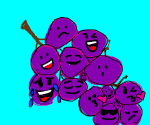grapes with faces