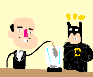 ALFREDputsANoldSHOEBRUSHinTHEblenderFORbatman