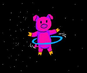 Hula-hooping pig in space