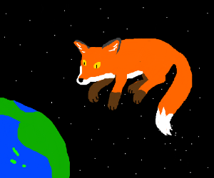 Space fox stares dramatically at planet Earth