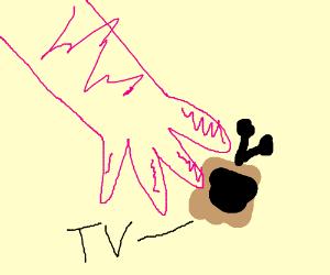 Pink girl touching TV