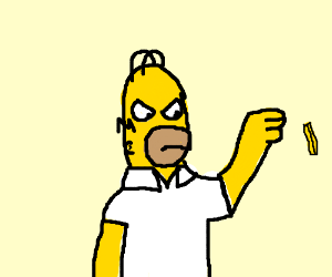 Homer Simpson tosses a french fry.