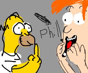 Homer Simpson flips off Philip Fry.