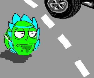 cabbage rick looking at a black car